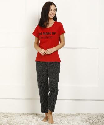 Dreambe Women Printed Red Night Suit Set
