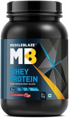 MuscleBlaze 100% Ultra Premium Whey Protein 1 kg, Strawberry