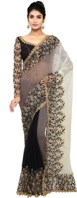 Triveni Embroidered, Embellished Fashion Chiffon Saree(Cream, Black, Grey)