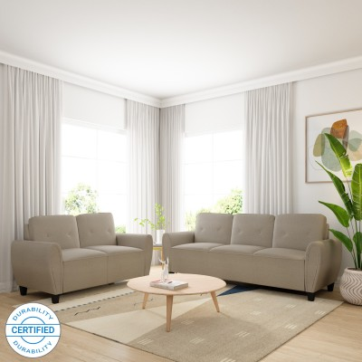 Flipkart Perfect Homes Faroe Fabric 3 + 2 Khaki Sofa Set