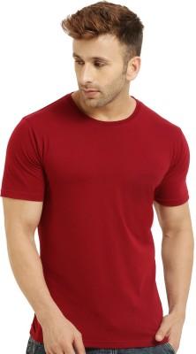 Bluehaaat Solid Men Round Neck Maroon T-Shirt