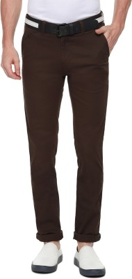 Van Heusen Slim Fit Men Brown Trousers at flipkart