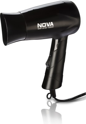 Nova Silky Shine Hot And Cold Foldable NHP 8100 Hair Dryer(1200 W, Black)