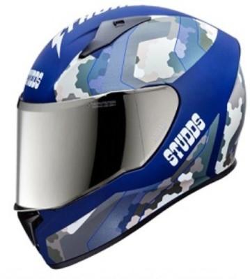 STUDDS Thunder D5-N1 Decor Motorsports Helmet(D5 Matt Blue N1 Blue)