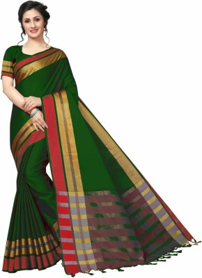 Miraan Solid Maheshwari Cotton Silk Saree Green