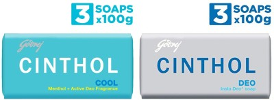 Cinthol Cool Soap And Deo Insta Deo Soap (Pack of 6) 100 G(6 x 100 g)