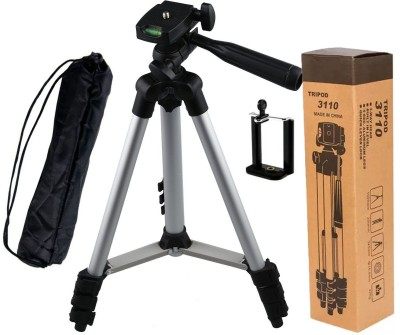 BUY SURETY 3110 Portable and Foldable Tripod with Mobile Clip Holder Bracket Tripod Silver   Black, Supports Up to 1500 g