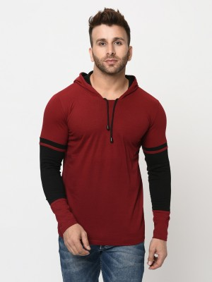 Tees Collection Color Block Men Hooded Neck Maroon T-Shirt