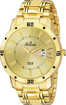 Buccachi B-G5073-GL-GL Gold Dial Day & Date Functioning Water Resistant Stainless Steel Gold Color Strap Bracelet Watch for Men/Boys Analog Watch  - For Men