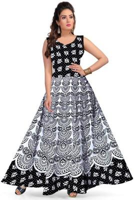 Rangun Women Maxi White, Black Dress