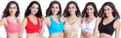 Smooth&Style Air Bra, Stretchable Non-Padded and Non-Wired for Women and Girls, Freesize (Size 28 to 36) Pack of 6 Multicolor Women, Girls Sports Non Padded Bra(Light Blue, Red, White, Black, Pink, Beige)