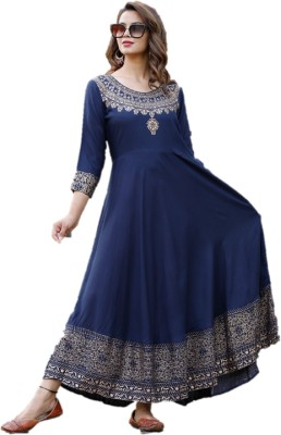 Baba Kurti Festive & Party Printed Women Kurti(Gold, Blue)