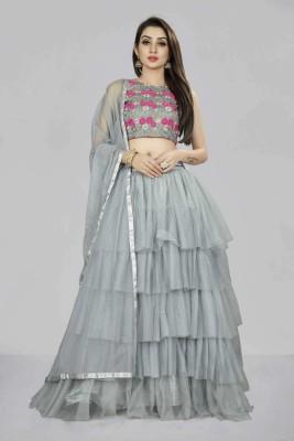 Divastri Solid Semi Stitched Lehenga Choli(Grey)