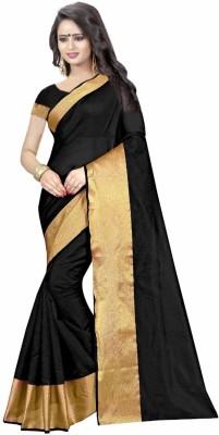 Miraan Printed Daily Wear Cotton Silk Saree Black