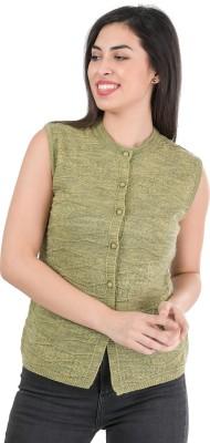 TAB91 Self Design Round Neck Casual Women Green Sweater