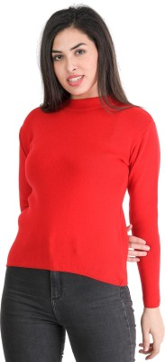 TAB91 Solid Round Neck Casual Women Red Sweater