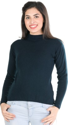 TAB91 Solid Round Neck Casual Women Dark Blue Sweater