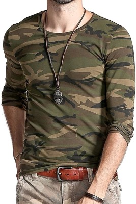 PeppyZone Military Camouflage Men Round or Crew Multicolor T-Shirt