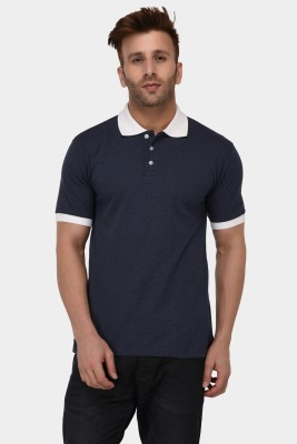 The Dry State Color Block, Self Design Men Polo Neck Dark Blue, Grey T-Shirt(Pack of 2)