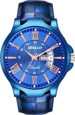 Embassy Casual Blue Dial Day And Date Designer Analog Watch  - For Men
