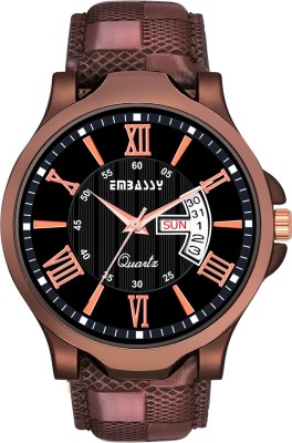 Embassy Casual Black Dial Day And Date Designer Analog Watch  - For Men