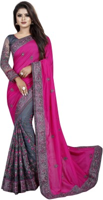 b bella creation Embroidered Bollywood Georgette, Net Saree(Multicolor)