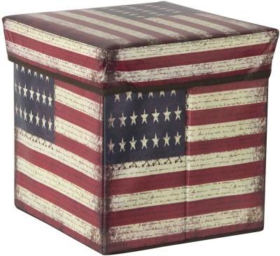 Maison & Cuisine Storage Box PORTABLE & FOLDABLE LAUNDRY BOX CUM SITTING STOOL Folding /sitting stool/stool/pouffes for living room/puffy stool (America) ( 30 cm x 30 cm x 30 cm ) Living & Bedroom Stool(Red)