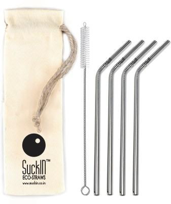 SuckIN Bent Drinking Straw(Silver, Pack of 4)