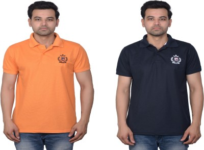 La Milano Solid Men Polo Neck Orange, Dark Blue T-Shirt(Pack of 2)