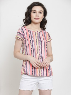 DARZI Casual Short Sleeve Printed Women Multicolor Top DARZI Tops