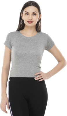 Kritimaa Casual Short Sleeve Solid Women Blue Top
