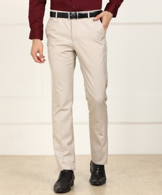 Arrow New York Slim Fit Men Beige Trousers