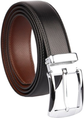 ZORO Men Evening, Party, Formal, Casual Black Artificial Leather Reversible Belt