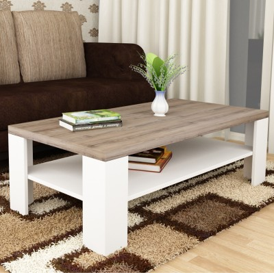Crystal Furnitech Sigma Engineered Wood Coffee Table(Finish Color - Virgin Oak + White)