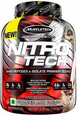 Muscletech Performance Series Nitrotech Whey Protein(1.81 kg, Cookies and Cream)