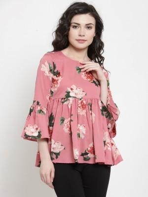 DARZI Casual Bell Sleeve Printed Women Pink Top