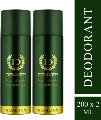 Denver Hamilton Deodorant Deodorant Spray  -  For Men(400 ml, Pack of 2)