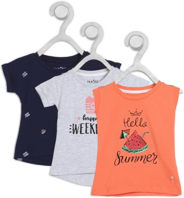 Palm Tree Baby Girls Casual Cotton Blend Top(Multicolor, Pack of 3) at flipkart
