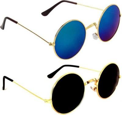 DEIXELS Round, Round Sunglasses(Blue, Black)