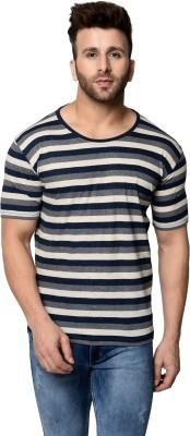GRAND STITCH Striped Men Round Neck Grey, White, Dark Blue T-Shirt