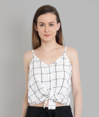 Chimpaaanzee Casual Noodle Strap Checkered Women White, Black Top