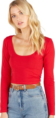 Trends Tower Casual Full Sleeve Solid Women Red Top