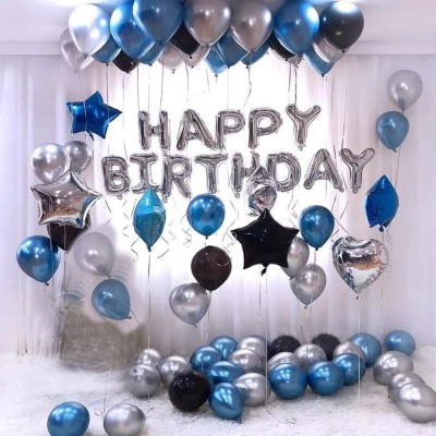 a-one suppliers Solid Happy Birthday Foil Balloon Silver Metallic Balloons Blue, Black and Silver Letter Balloon(Silver, Black, Blue, Pack of 63)