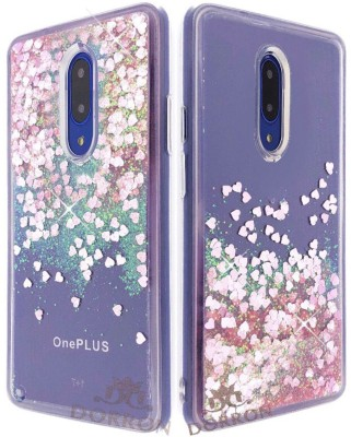DORRON Back Cover for OnePlus 7 / One Plus 7 / 1+7 Glitter Bling Stylish Liquid Love Heart Waterfall Case For Girls(Pink, Shock Proof, Silicon)