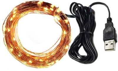 MANSAA® Copper String LED light 10 MTR 100 LED USB Operated Decorative Lights 393.7 inch Yellow Rice Lights 393.7 inch Yellow Rice Lights(Pack of 1)