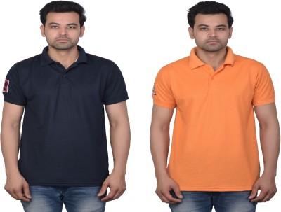 La Milano Solid Men Polo Neck Dark Blue, Orange T-Shirt(Pack of 2)