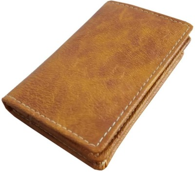 MATSS MATSS Genuine Leather Orange Card Holder||Card Case||Debit Card Holder||Money Clip||Credit Card Holder||ATM Card Case Men & Women 10 Card Holder(Set of 1, Tan)