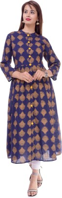 DUENITE Casual Printed Women Kurti(Blue)