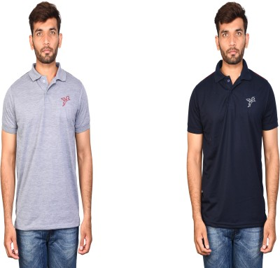 Flying Figure Self Design Men Polo Neck Grey, Dark Blue T-Shirt(Pack of 2)