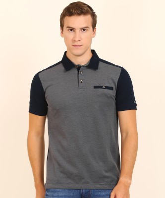 Arrow Sport Self Design Men Polo Neck Grey, Dark Blue T-Shirt